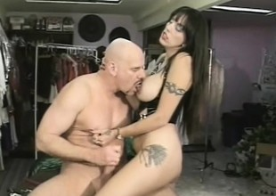 Female dominatrix Angela D Angelo gives Keep out Fontana a strap-on fuck