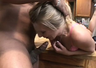 A cheating blonde housewife goes neglected take a throbbing black spiral