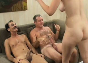 Yoke horny older studs take turns drilling the morose college babe's tight snatch