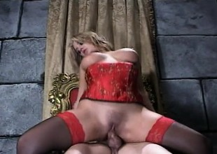 Katie Morgan Rides Johnny Thrust In Red Lingerie
