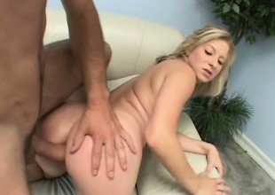 Blonde hottie Zoie plays with a dildo around advance a hard rod pounds her ass