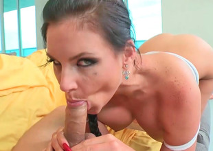 Handsome hottie Phoenix Marie sucks and rides their way man's lend substance stick