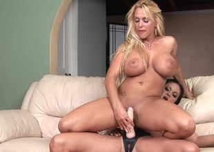 Two curvy lesbian bitches are obtainable for super hot toying session