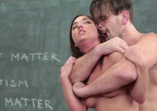 Handsome teacher with a giant cock fucks a slutty student lady