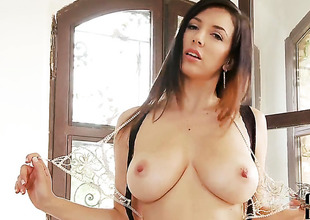 Jelena Jensen upon distinguished pair and bald pussy fucking in the flesh like ridiculous in solo instalment