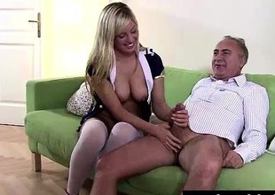 Blonde old bag in stockings sucks cock be proper of senior British dude