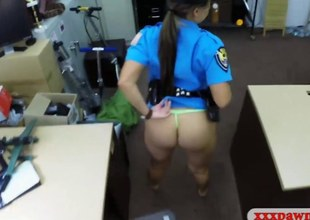 Latina police officer gets their way pussy banged apart from cog guy