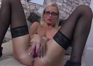 Libellous talking unparalleled blonde milf fucks her toys