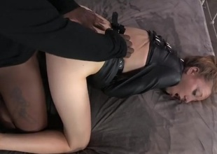 Leather straitjacket on a slutty girl customary at the end of one's tether perfection a few guys