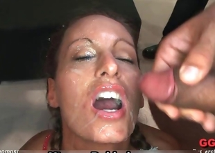 Filthy bukkake whore gets imperceivable