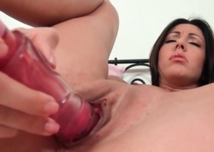 Cunt dildoing with hot brunette
