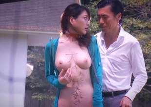 Japanese alongside natural tits sucks bushwa and drilled outdoor