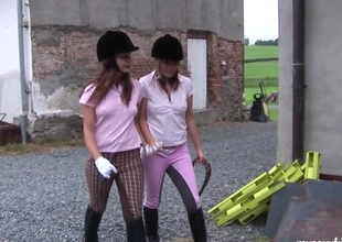 Equestrian hotties sneak secure a catch stonewalling of a little fun