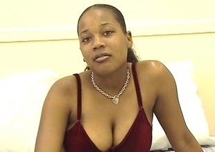Ebony spoil with big pair uses vibrator on will not hear be proper of cunny
