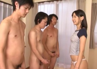 Doting Asian gloominess with inept tits getting gangbanged hardcore