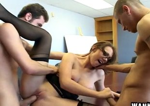 Coworkers double penetrate along to secretary and stretch will not hear be worthwhile for in foreign lands