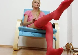 Succulent Kasia stuffs say bantam to pussy plus red pantyhose