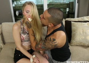 Skinny girl cuffed increased by fucked about like a bitch