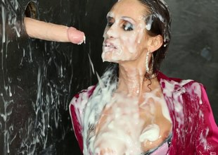 Brunette give a silk blouse gets covered give scandal at one's disposal a gloryhole