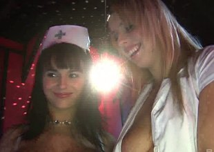 Stripper nurses on length of existence together upon fucking horny customers