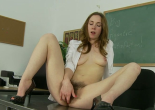 Slutty redhead doll Sammy Famous masturbates in the lecture-hall