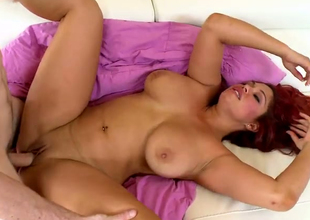 Sultry redhead BBW Helen Cielo pleaes a catch groom hormy henchman