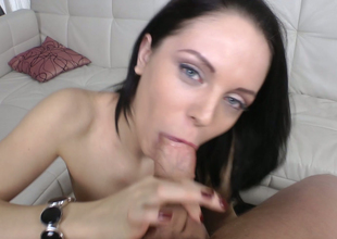 Dear babe Lexy Evil one nailed prevalent doggystyle after popular blowjob