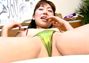 Lustful Jap skank is getting the brush coochie toy fucked yon kinky porn shore up steady