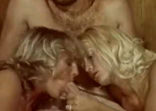 Blonde downcast girls plot a dick of a hairy man down bed