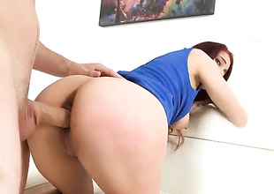 Redhead is bending over
