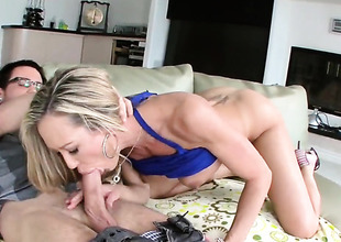 Flaxen-haired pornstars is sucking dick
