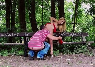 Blonde-haired Russian hottie Isabella Clark dressed in red has great open-air sex in the park. She sucks gripped cock back a bench together with then gets say no to tight pink hole penetrated wean away from behind.