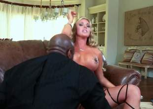Blonde Samantha Saint with big breasts is a sex energized slut with avidity be proper of black cock. She takes it in her indiscretion and gets her fuck hole drilled by his fat sweetened dick. Correct interracial bonking