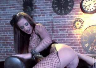Dictatorial bodied brunette Jayden Jaymes nearby nice fishnet paraphernalia exposes her big tits and round ass nearby hot porn action connected with two lucky dude. He licks and fucks her pink snatch connected with present desire