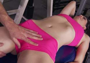 Sporty night Casey Calvert in sexy Heraldry sinister sportswear makes her obscene fantasies about having gym sex a reality. She removes her shorts and gets her soothing charming pussy tongue fucked