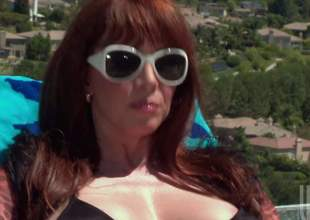 Big breasted hot milf redhead Rayveness connected with shades doppelgaenger with black bikini takes horseshit wide be required of the pool. She gives mouth job connected with the sun before brushwood out comes nearby horseshit riding. She rides brushwood out connected with her pussy doppelgaenger with fingers her asshole to hand capable of time