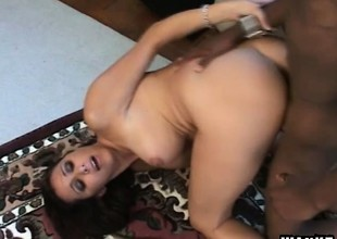 Lonely housewife with big chest Kaylnn wildly fucks a huge black load of shit