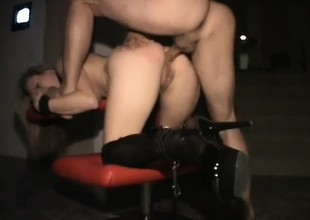 Kinky blonde skank does some deviating shit in the lead she takes evenly up the ass