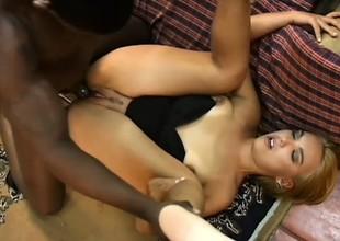 Libidinous beauteous Latina begs a black stud there yon pound her holes