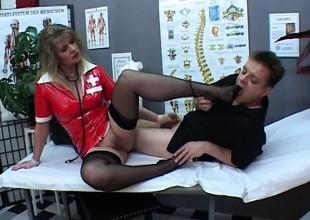 Angela opens her legs wide for Paul Barresi's long lively b dance