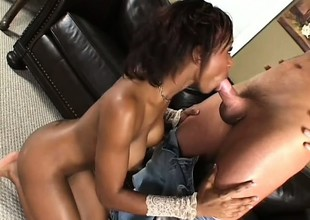 Black piece of baggage cums and cums to hand all times from her interracial fucking