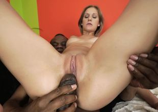 Arse and twat of white-skinned tootsie get drilled off out of one's mind Ebony