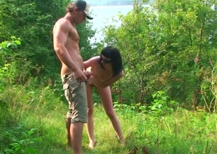 Young couple out in chum around with annoy woods for a BJ and banging