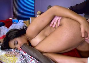 Ebony slut hither big natural boobies rides a large white lend substance exclude