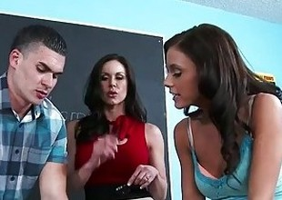 Sex teachers Kendra Lust and Whitney Westgate sharing cock fellow-creature with reference to classroom