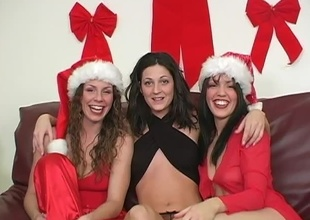 For this segment be expeditious for 2009's Christmas Special, Kianna wants to fuck Gabby thither a strap-on.  Sarah Moon MC's.  Cut to then-newbie Gabby's tend and show-off moments.  She came shaved in tendency to for this, and filmed rolling in money wearing say no to Santa-girl get-up and a s