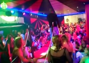 Party babes have lark with stripper