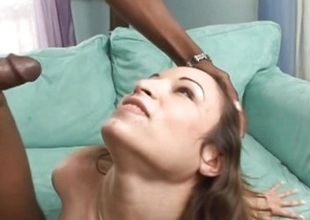 Amber Rayne gets rub-down the brush face plastered with caring jizz
