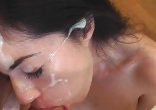 Gorgeous April Blue masked all over brand-new cum