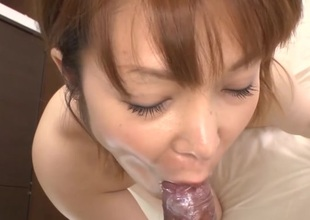 Hawt Oriental in upskirt charms in reverse anal riding